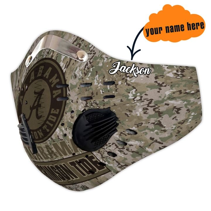 Personalized alabama crimson tide camo filter activated carbon face mask 3