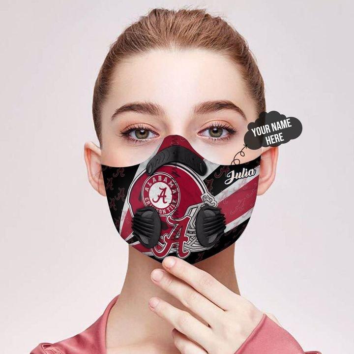 Personalized alabama crimson tide helmet filter activated carbon face mask 2