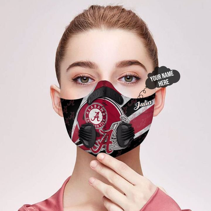 Personalized alabama crimson tide helmet filter activated carbon face mask 3