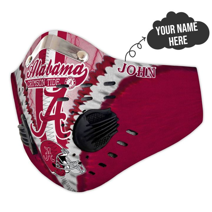 Personalized alabama crimson tide team filter activated carbon face mask 1