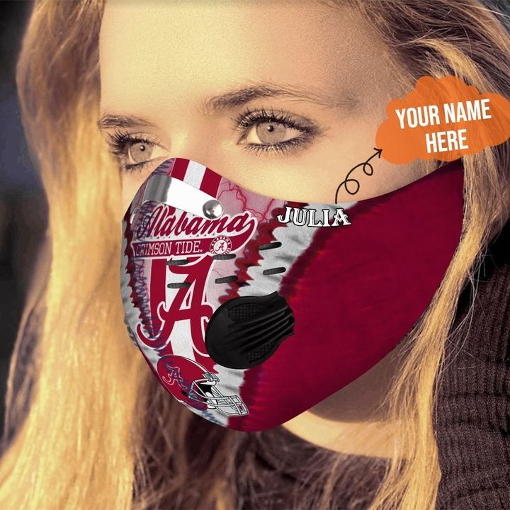 Personalized alabama crimson tide team filter activated carbon face mask 4
