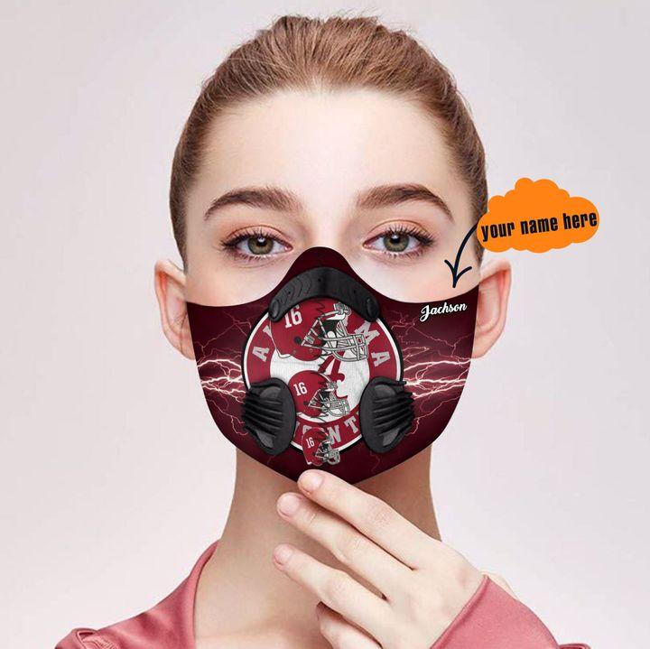 Personalized alabama crimson tide team nfl filter activated carbon face mask 2