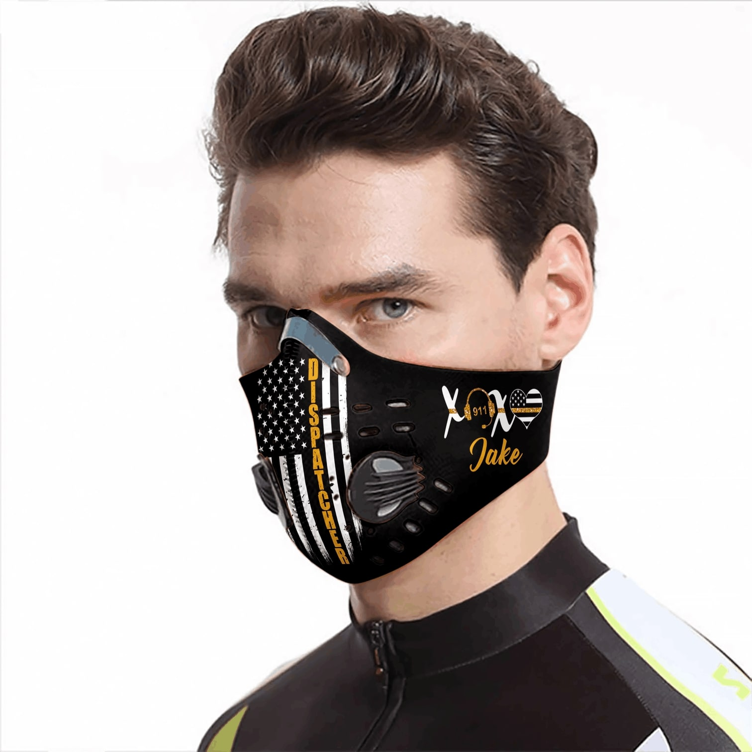 Personalized american flag dispatcher carbon pm 2,5 face mask 1