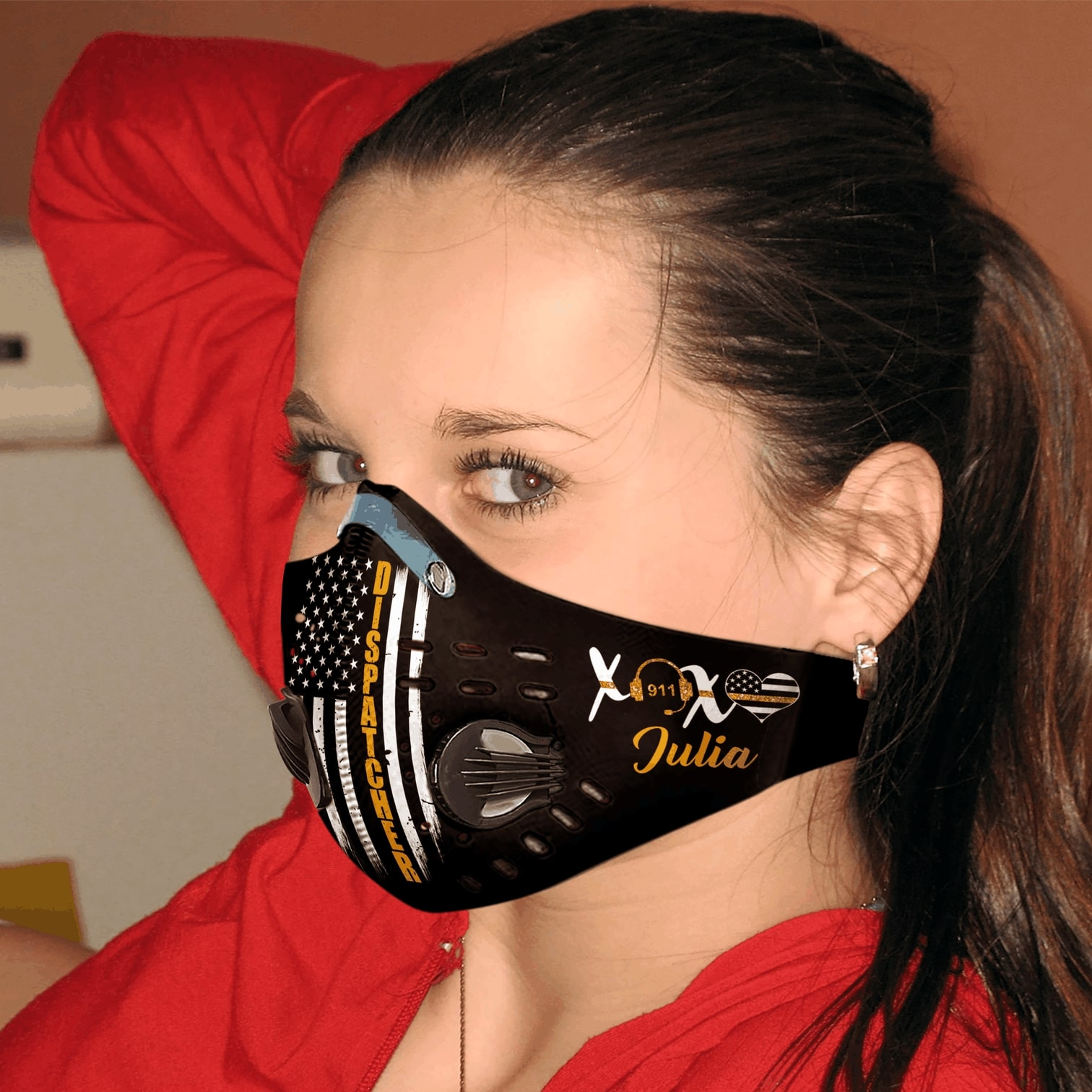 Personalized american flag dispatcher carbon pm 2,5 face mask 3