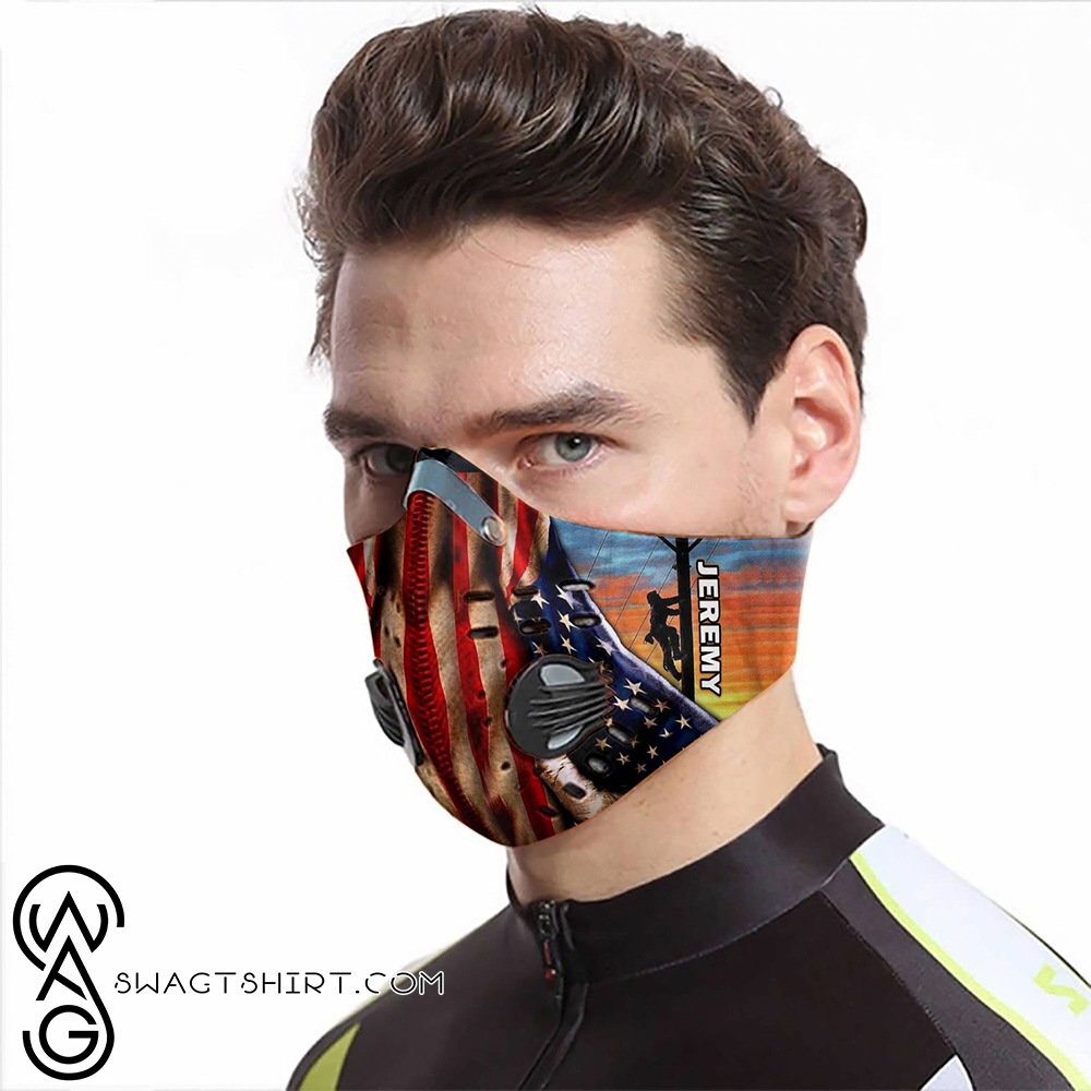 Personalized american flag lineman carbon pm 2,5 face mask