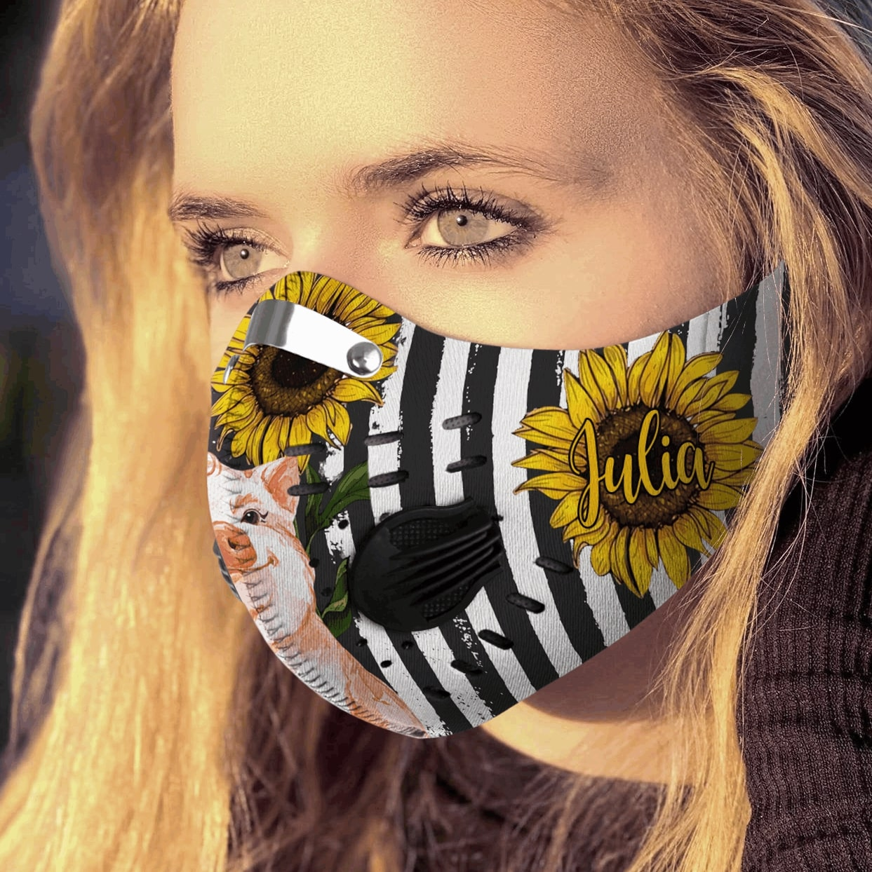 Personalized american flag sunflower pig carbon pm 2,5 face mask 1