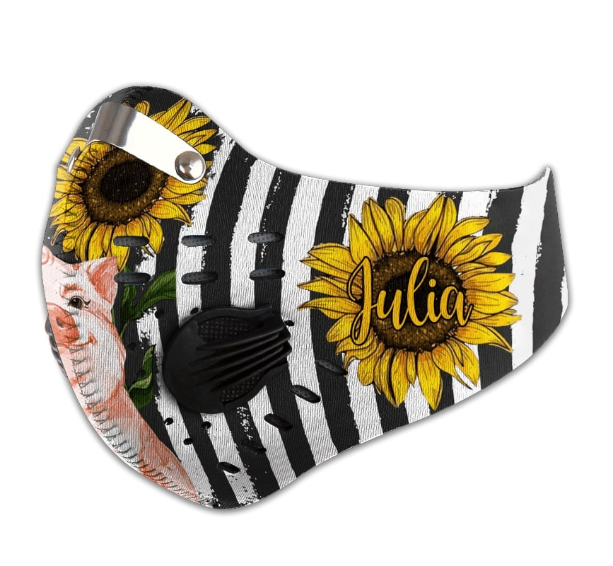 Personalized american flag sunflower pig carbon pm 2,5 face mask 2