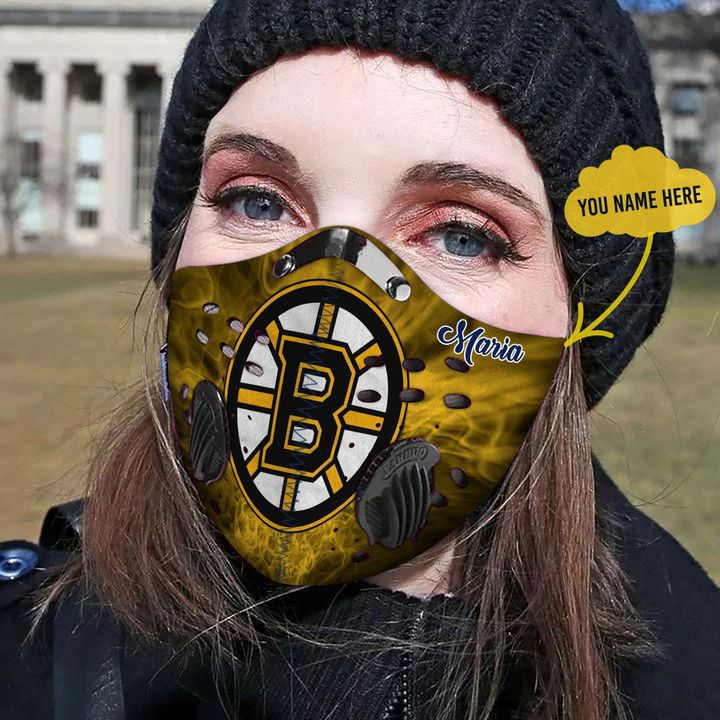 Personalized boston bruins filter activated carbon face mask 4