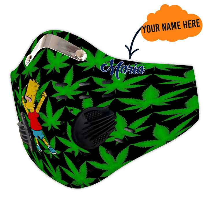 Personalized cannabis leaf the simpsons filter activated carbon face mask 1