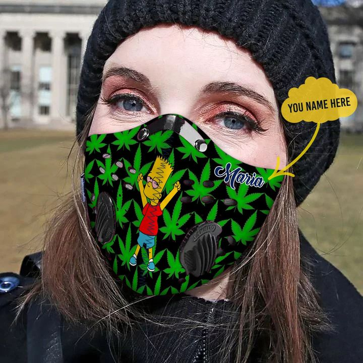 Personalized cannabis leaf the simpsons filter activated carbon face mask 2