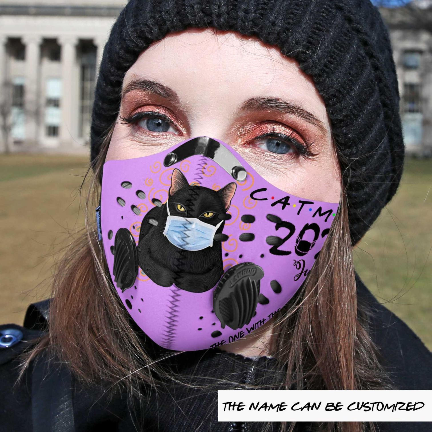 Personalized cat mom the one with the pandemic carbon pm 2,5 face mask 1