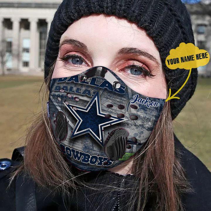 Personalized dallas cowboys carbon pm 2,5 face mask 3