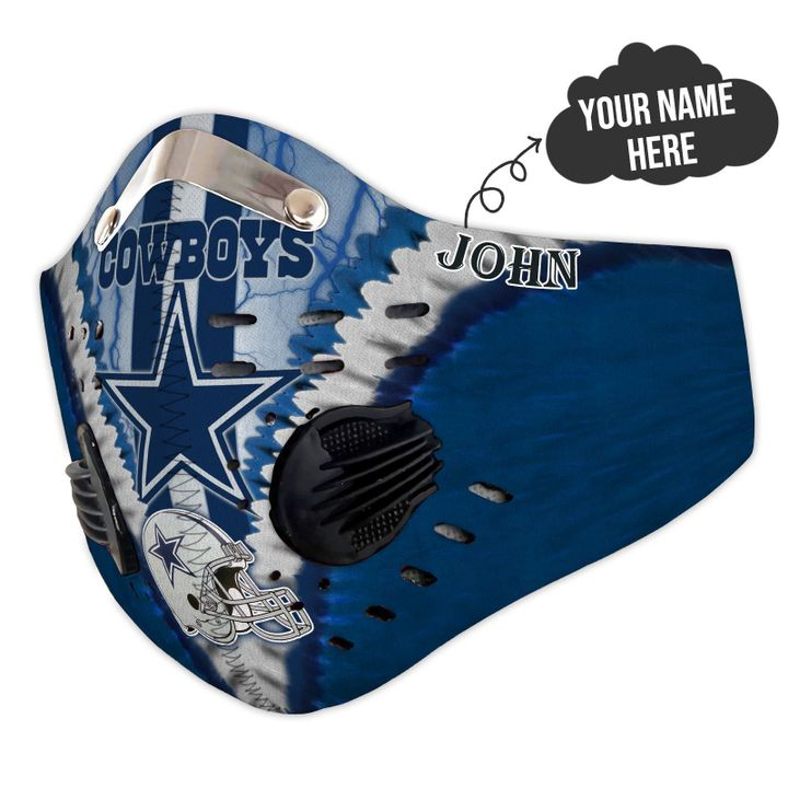 Personalized dallas cowboys team nfl filter activated carbon face mask 4