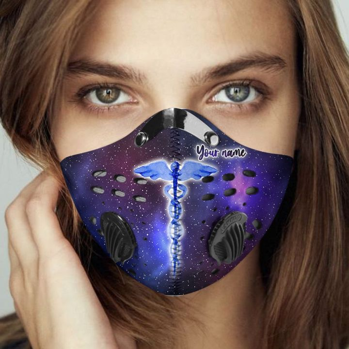 Personalized galaxy caduceus symbol nurse filter activated carbon face mask 3