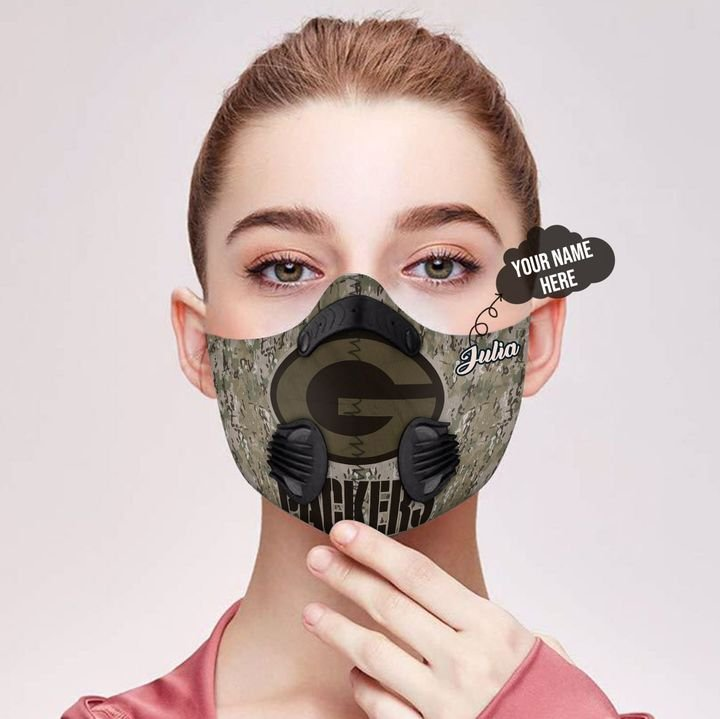 Personalized green bay packers camo filter activated carbon face mask 1