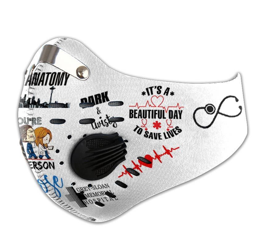 Personalized grey's anatomy carbon pm 2,5 face mask 1