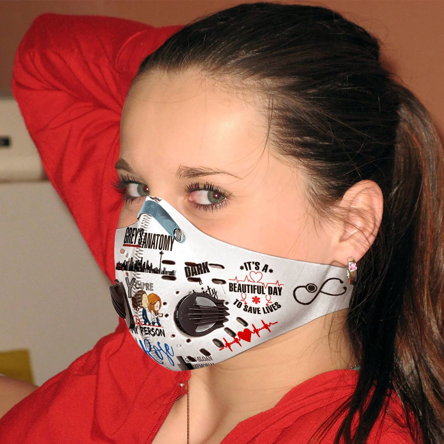 Personalized grey's anatomy carbon pm 2,5 face mask 4
