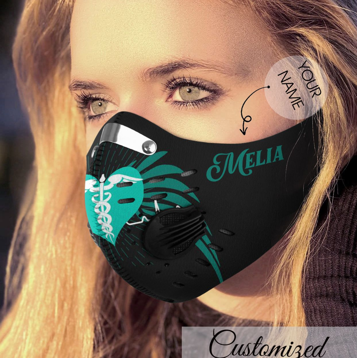 Personalized heart nurse carbon pm 2,5 face mask 3
