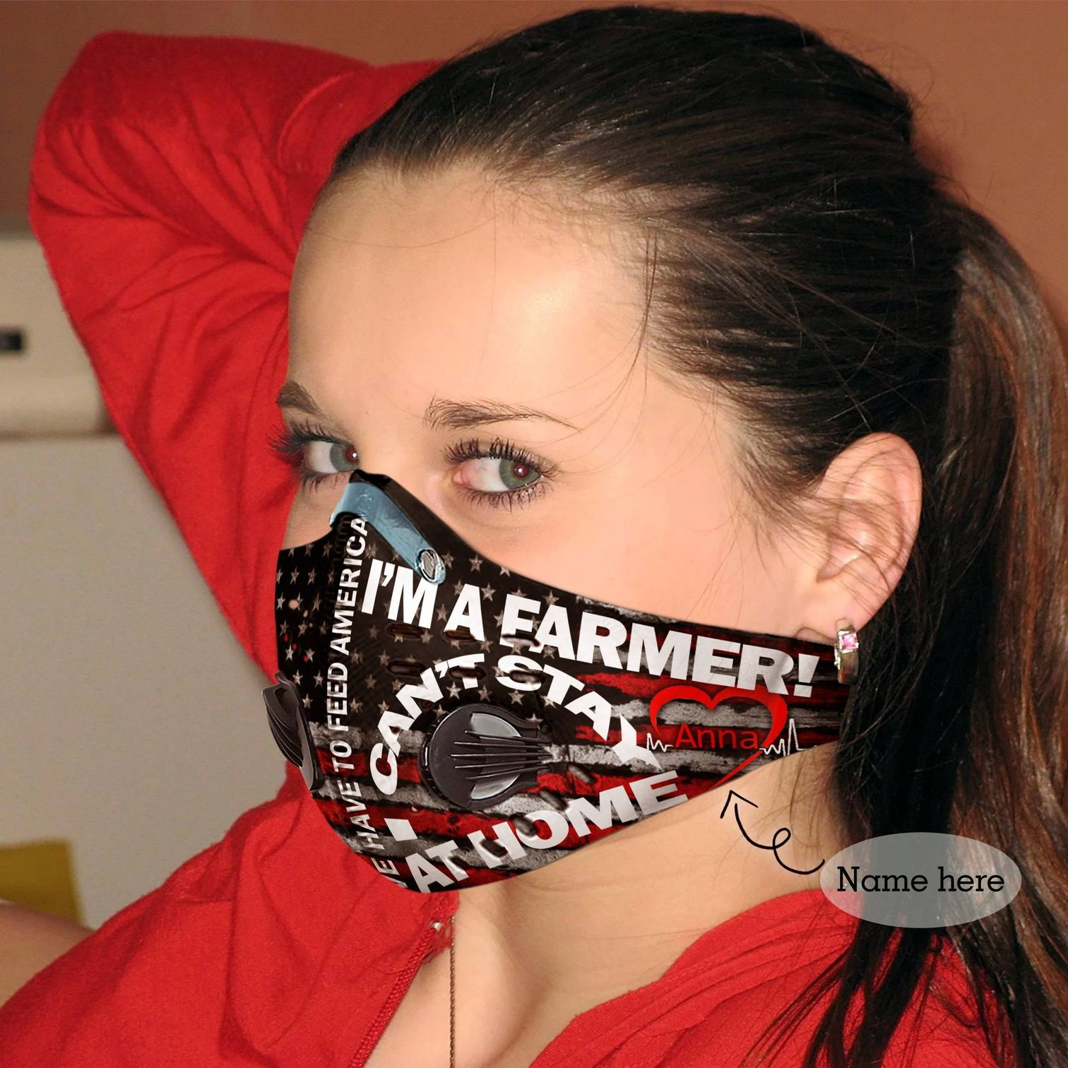 Personalized i can't stay at home i'm a farmer carbon pm 2,5 face mask 3