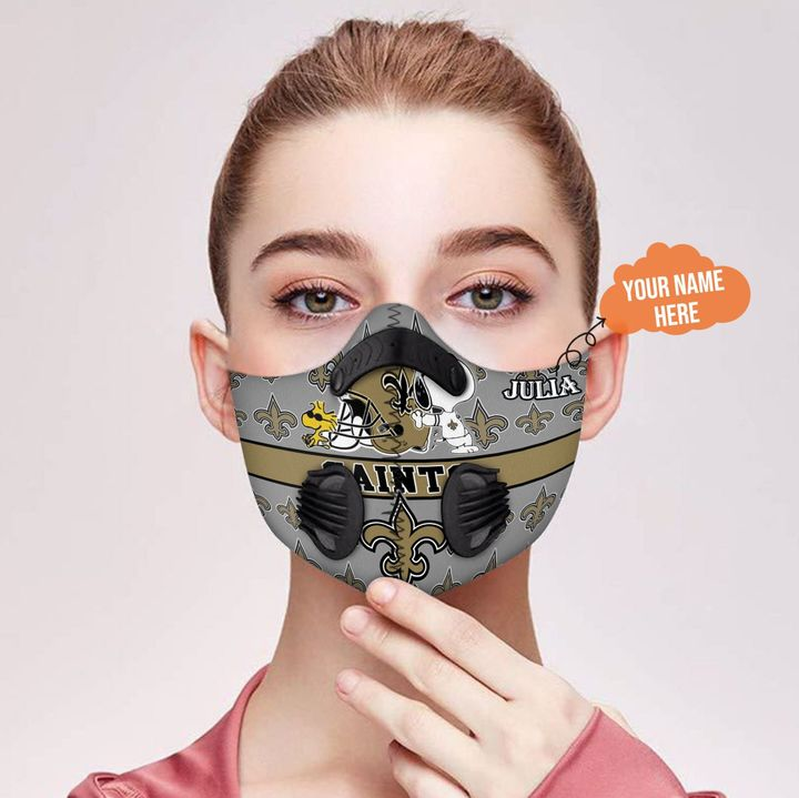 Personalized new orleans saints snoopy filter activated carbon face mask 1