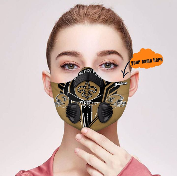 Personalized new orleans saints warrior filter activated carbon face mask 1