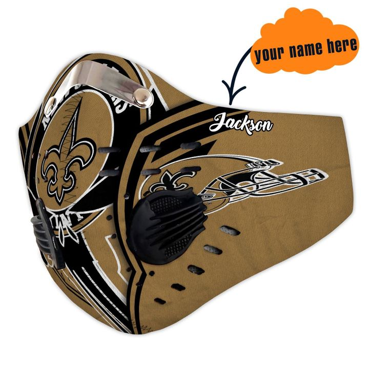 Personalized new orleans saints warrior filter activated carbon face mask 3