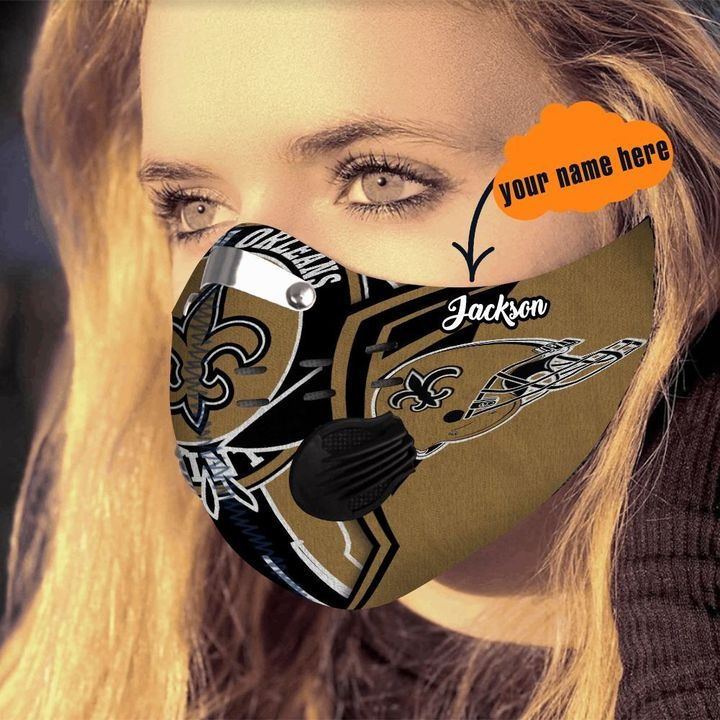 Personalized new orleans saints warrior filter activated carbon face mask 4