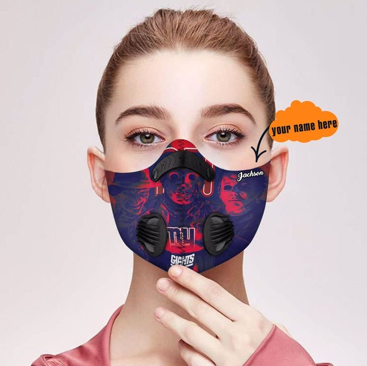 Personalized new york giants jason voorhees filter activated carbon face mask 2