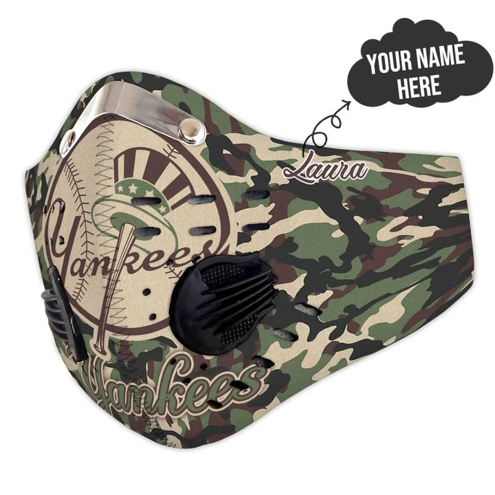 Personalized new york yankees camo filter activated carbon face mask 2