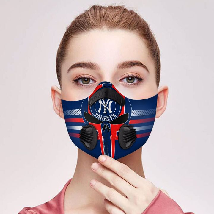 Personalized new york yankees logo filter activated carbon face mask 2