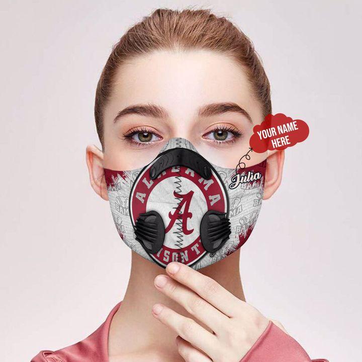 Personalized nfl alabama crimson tide filter activated carbon face mask 2