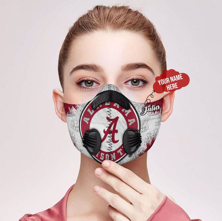 Personalized nfl alabama crimson tide filter activated carbon face mask 3