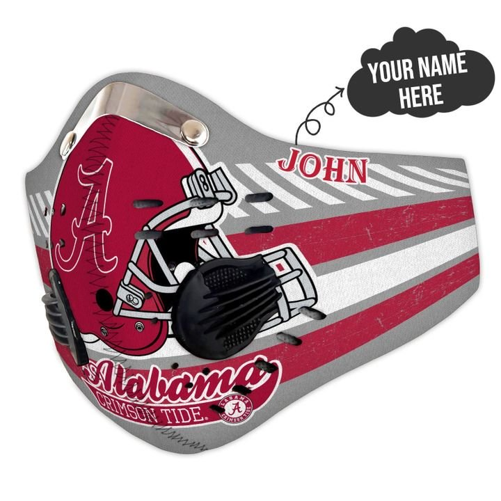 Personalized nfl alabama crimson tide helmet filter activated carbon face mask 2