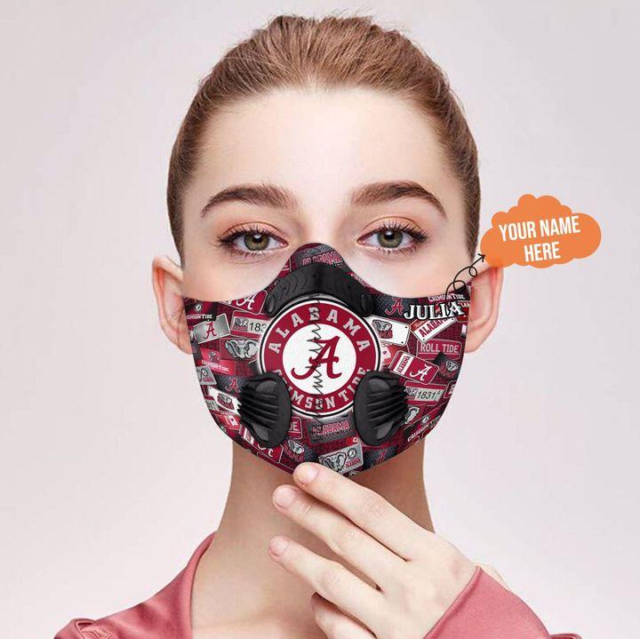 Personalized nfl alabama crimson tide team filter activated carbon face mask 2