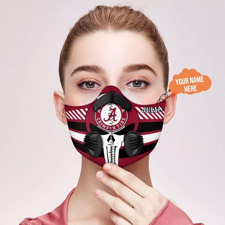 Personalized nfl alabama crimson tide team skull filter activated carbon face mask 1