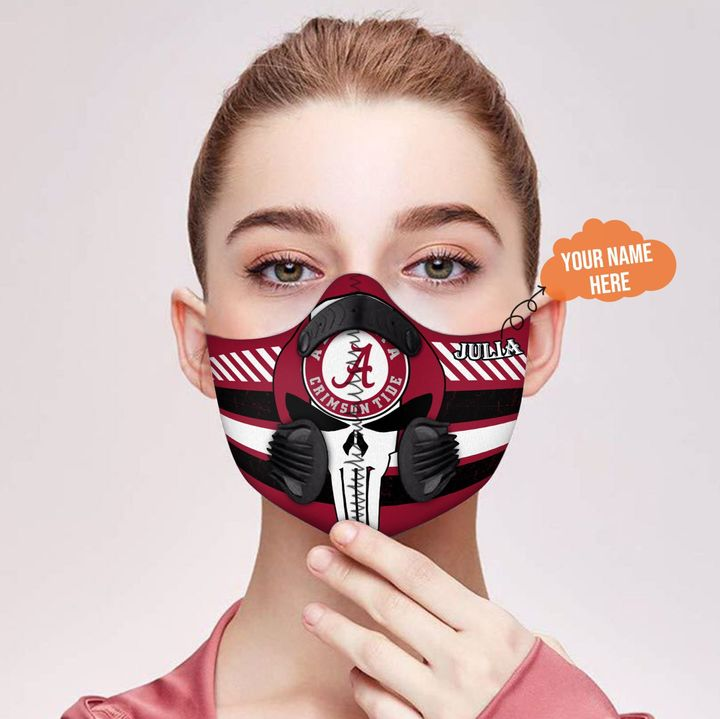Personalized nfl alabama crimson tide team skull filter activated carbon face mask 2