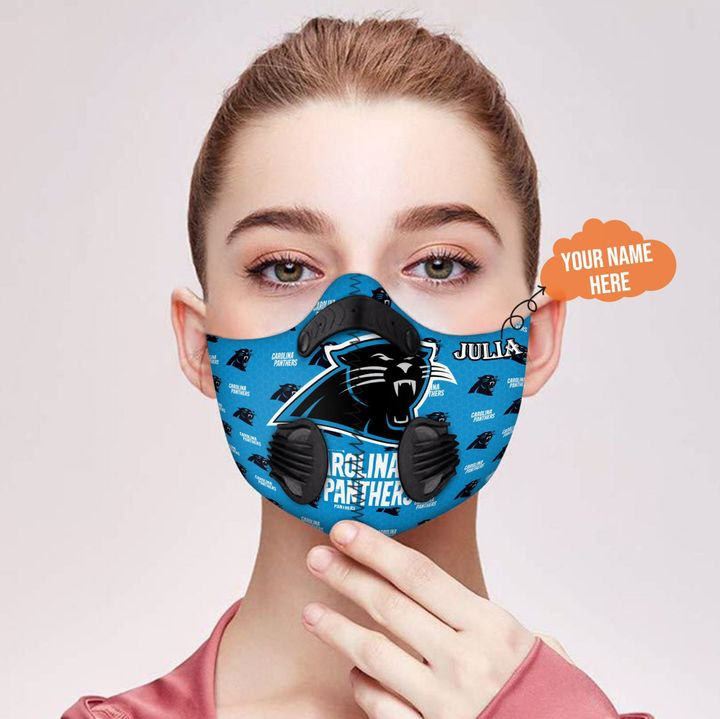 Personalized nfl carolina panthers filter activated carbon face mask 2