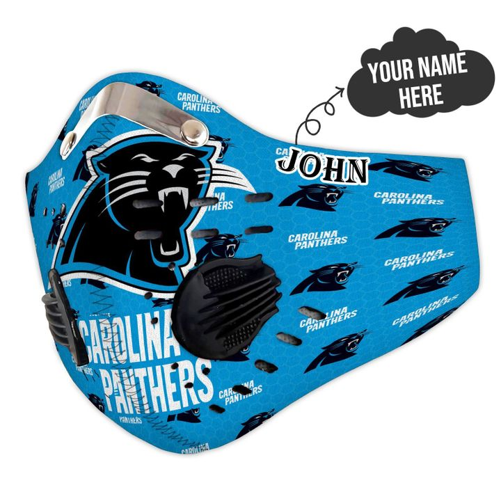 Personalized nfl carolina panthers filter activated carbon face mask 3