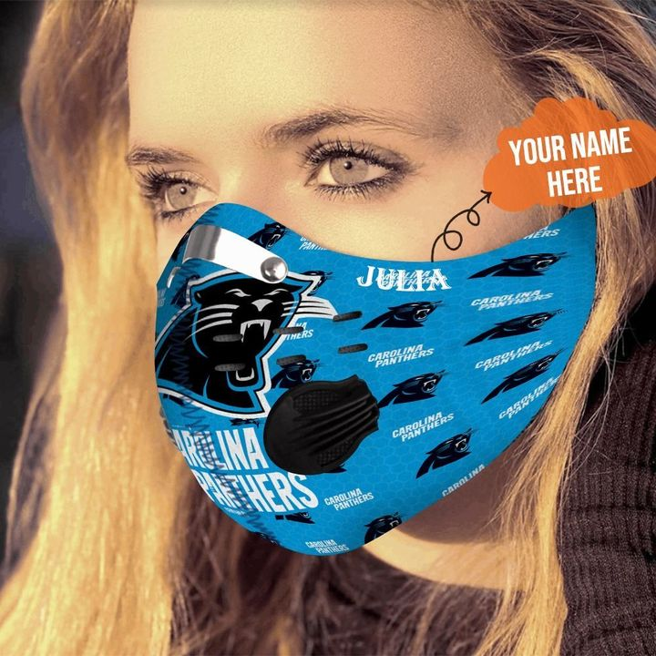 Personalized nfl carolina panthers filter activated carbon face mask 4