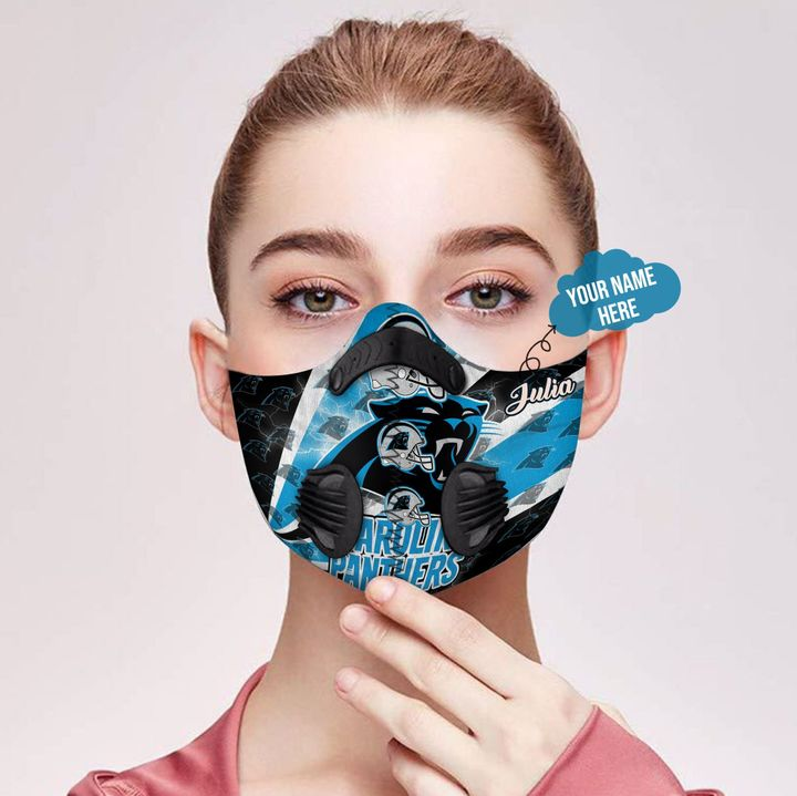 Personalized nfl carolina panthers logo filter activated carbon face mask 2