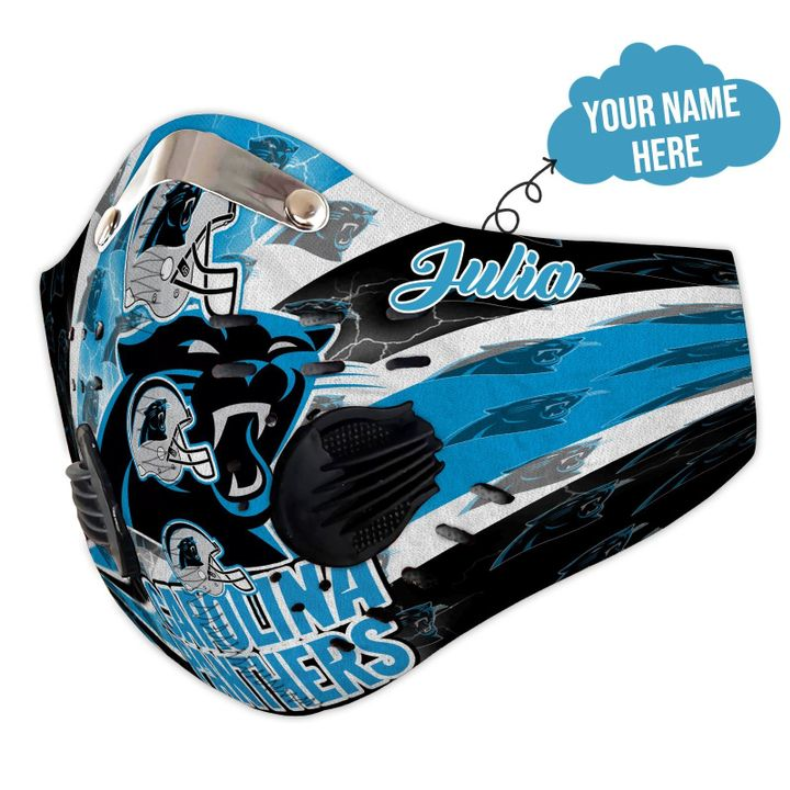 Personalized nfl carolina panthers logo filter activated carbon face mask 3