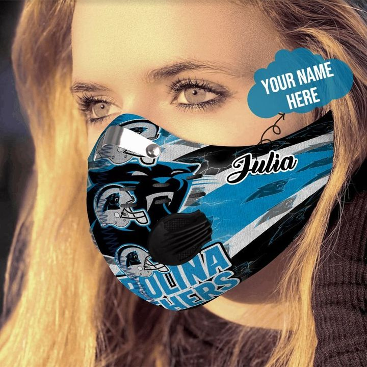 Personalized nfl carolina panthers logo filter activated carbon face mask 4