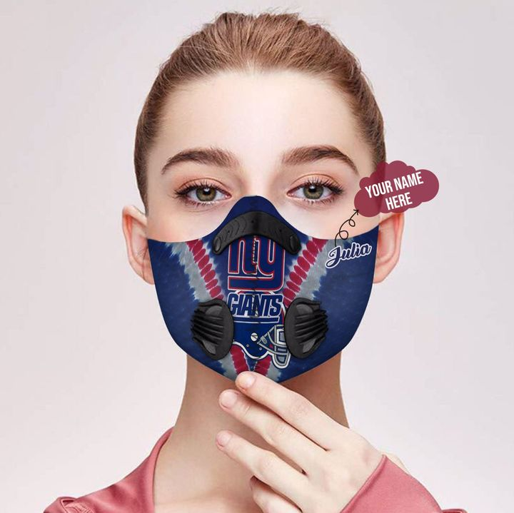 Personalized nfl new york giants filter activated carbon face mask 2