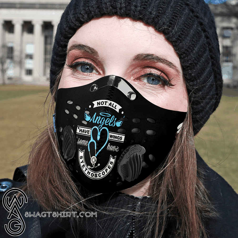 Personalized not all angels have wings strong nurse carbon pm 2,5 face mask