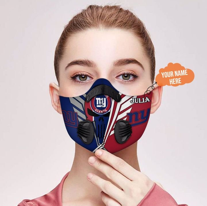 Personalized skull new york giants filter activated carbon face mask 2