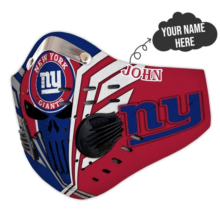 Personalized skull new york giants filter activated carbon face mask 3