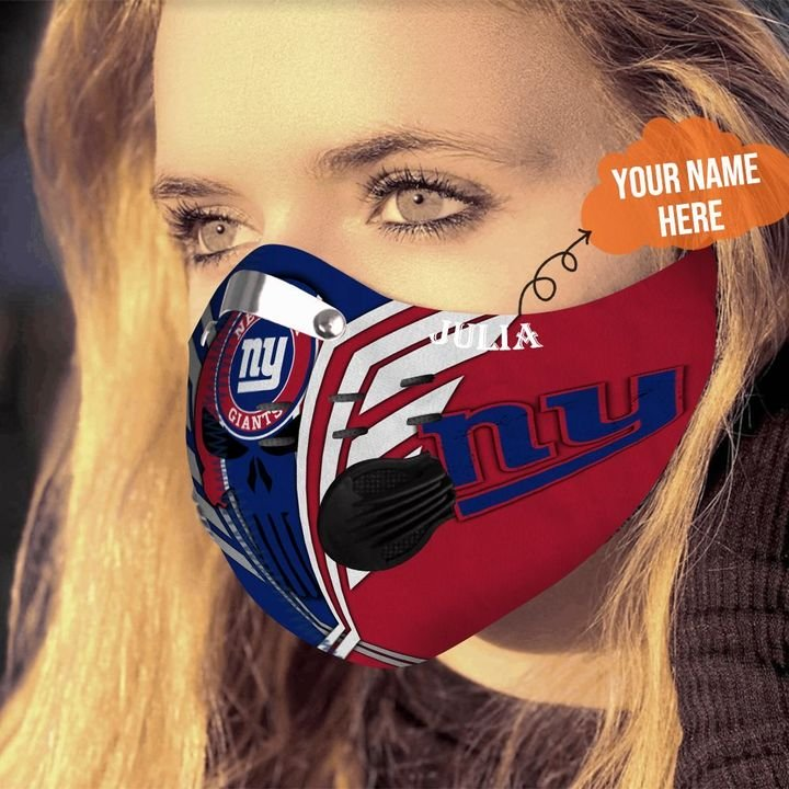 Personalized skull new york giants filter activated carbon face mask 4