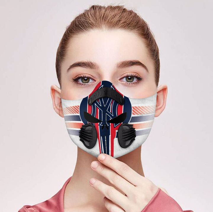 Personalized skull new york yankees filter activated carbon face mask 2