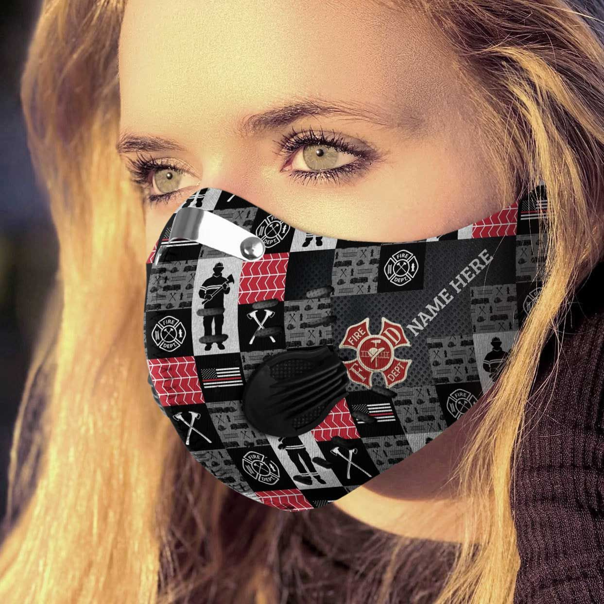Personalized strong firefighter carbon pm 2,5 face mask 1