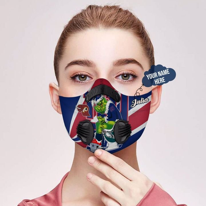 Personalized the grinch new york giants filter activated carbon face mask 1